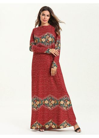 Maroon color Plus Size Fashion . Women's Plus Size Fashion Simple Long Sleeve Stitching Thin Printed Dresses -