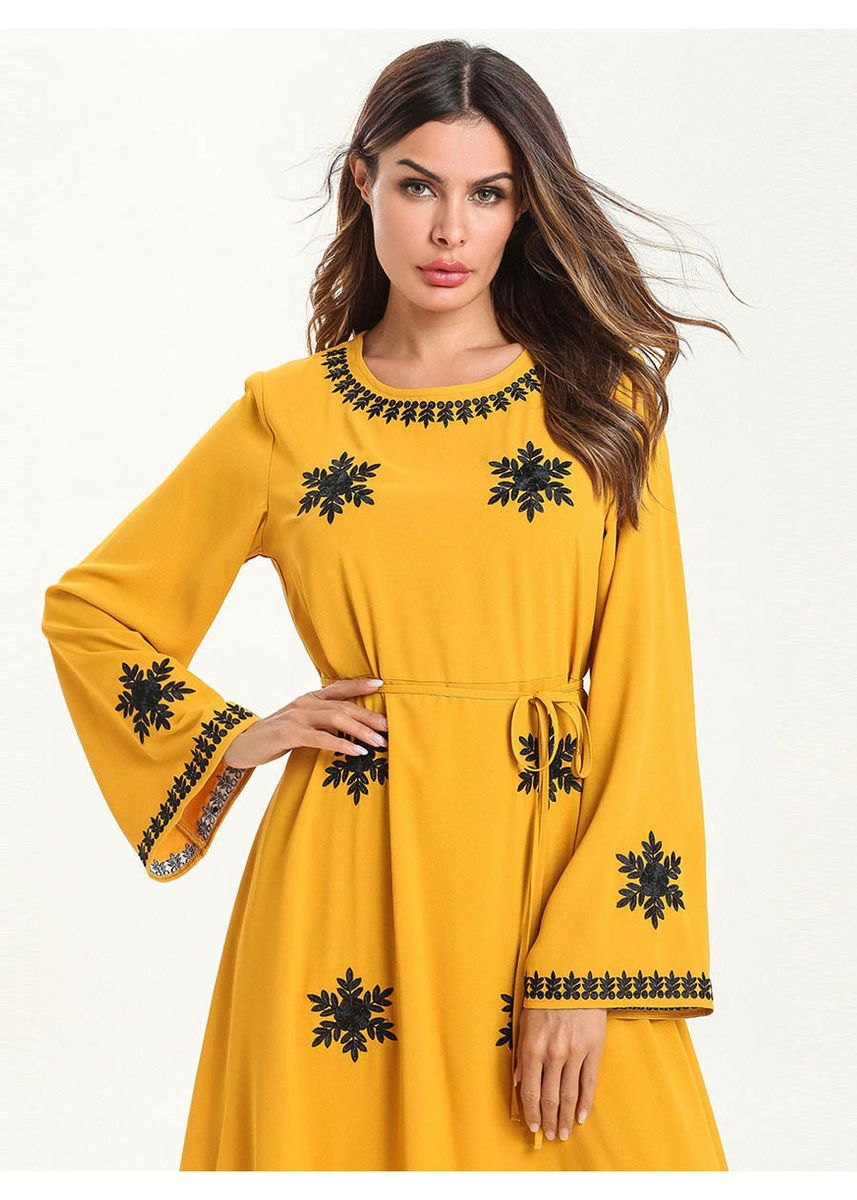 Yellow color Plus Size Fashion . Women's Plus Size Fashion Loose Simple Embroidered Shuttle Dress -