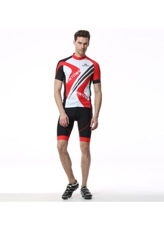 Red color Sports Wear . Men's 3D Printing Professional Bicycle Short Sleeve Suit Mountain Cycling Suit -
