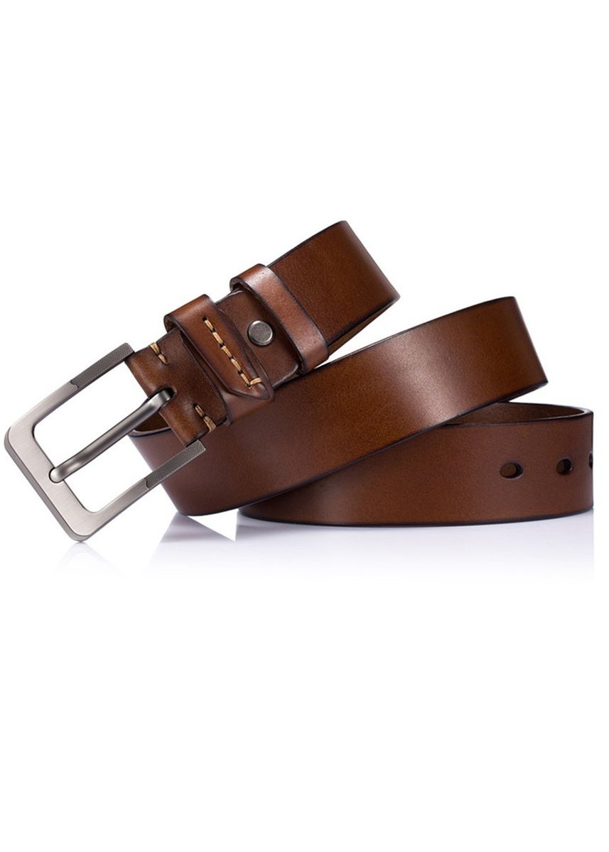 น้ำตาล color เข็มขัด . Men's Genuine Leather Buckle Waist Belt -