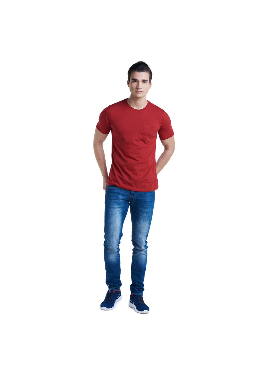 Red color T-Shirts and Polos . Huga Men's Perfect Pocket Cotton Round Neck Top -