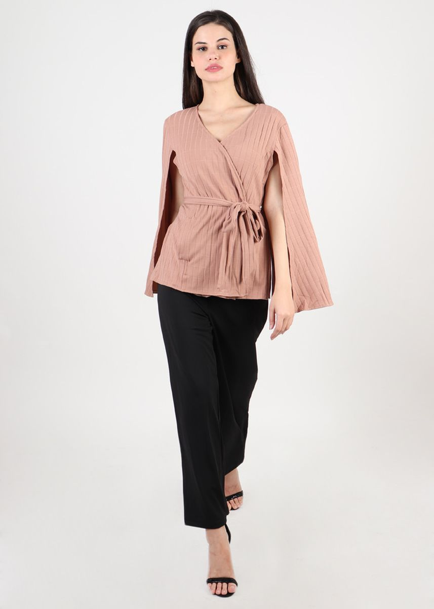 Pink color Tops and Tunics . Francia Kimono Cape Wrap Top In Pink -