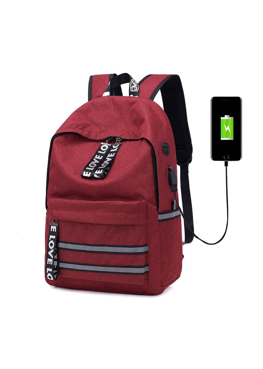 Red color Backpacks . Backpack Solid Color Usb Fashion Casual Couple Student Bag -