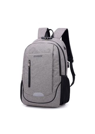 Grey color Backpacks . Men's Casual Multi-function Password Lock Anti-theft Computer Bag -