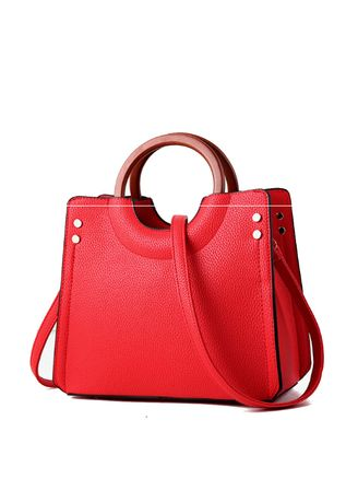 Red color Hand Bags . Wooden Ring Hand-held Simple Trend Hand Bag -