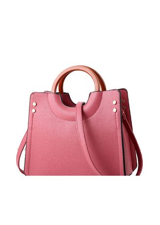 Pink color Hand Bags . Wooden Ring Hand-held Simple Trend Hand Bag -