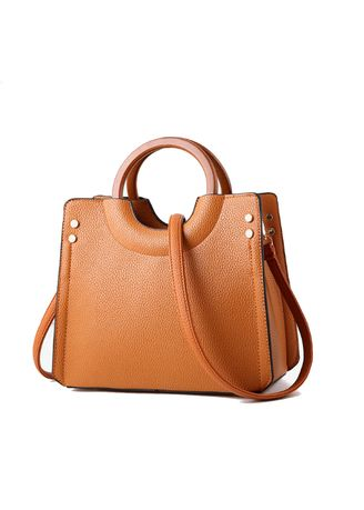 Brown color Hand Bags . Wooden Ring Hand-held Simple Trend Hand Bag -