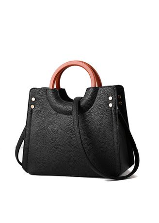 Black color Hand Bags . Wooden Ring Hand-held Simple Trend Hand Bag -