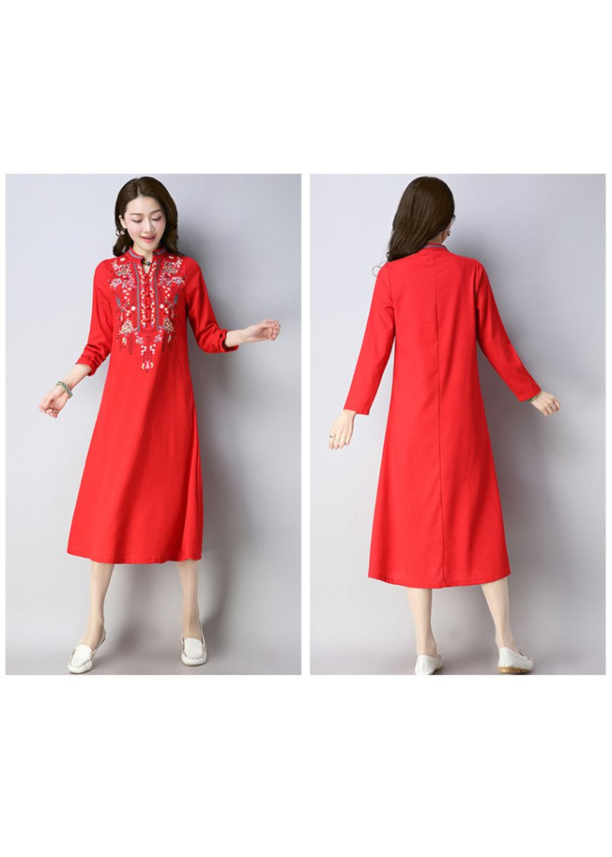 Red color Dresses . Lady Maxi  A-Line Dress Dinner Party Causal Ethic -
