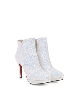 ขาว color บู้ต . Fashion Sequins High Heel Stiletto Super Low Boots -