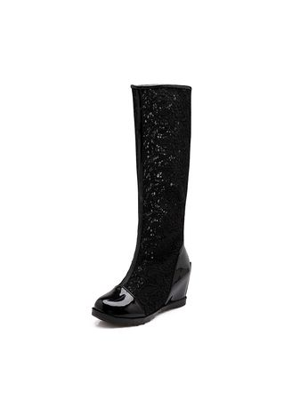 Boots . Openwork Net Boots Women's Shoes Single High Cool Lace Heightening -
