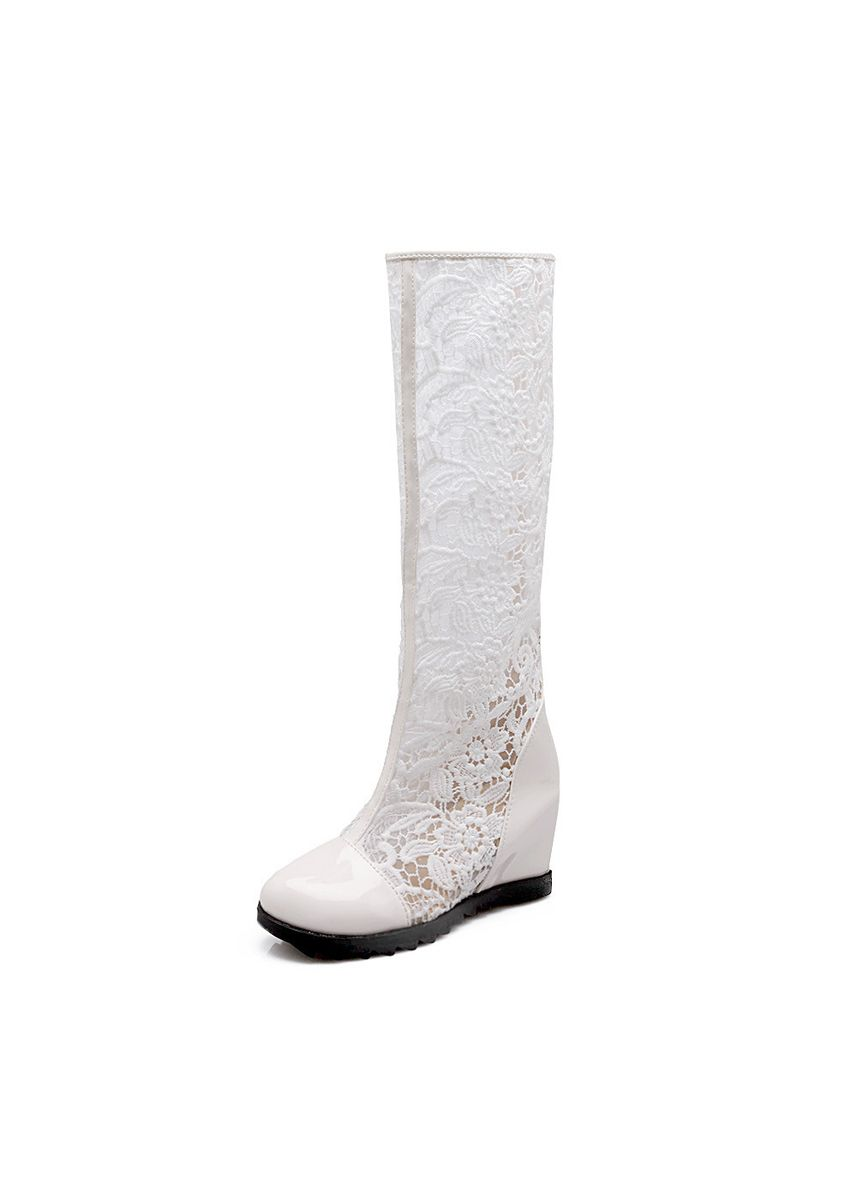 White color Boots . Openwork Net Boots Women's Shoes Single High Cool Lace Heightening -