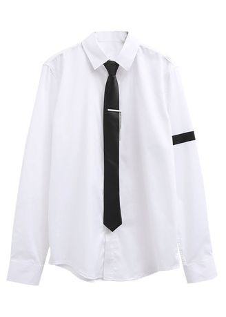 White color Formal Shirts . Slim long-sleeved Tie Shirt man -