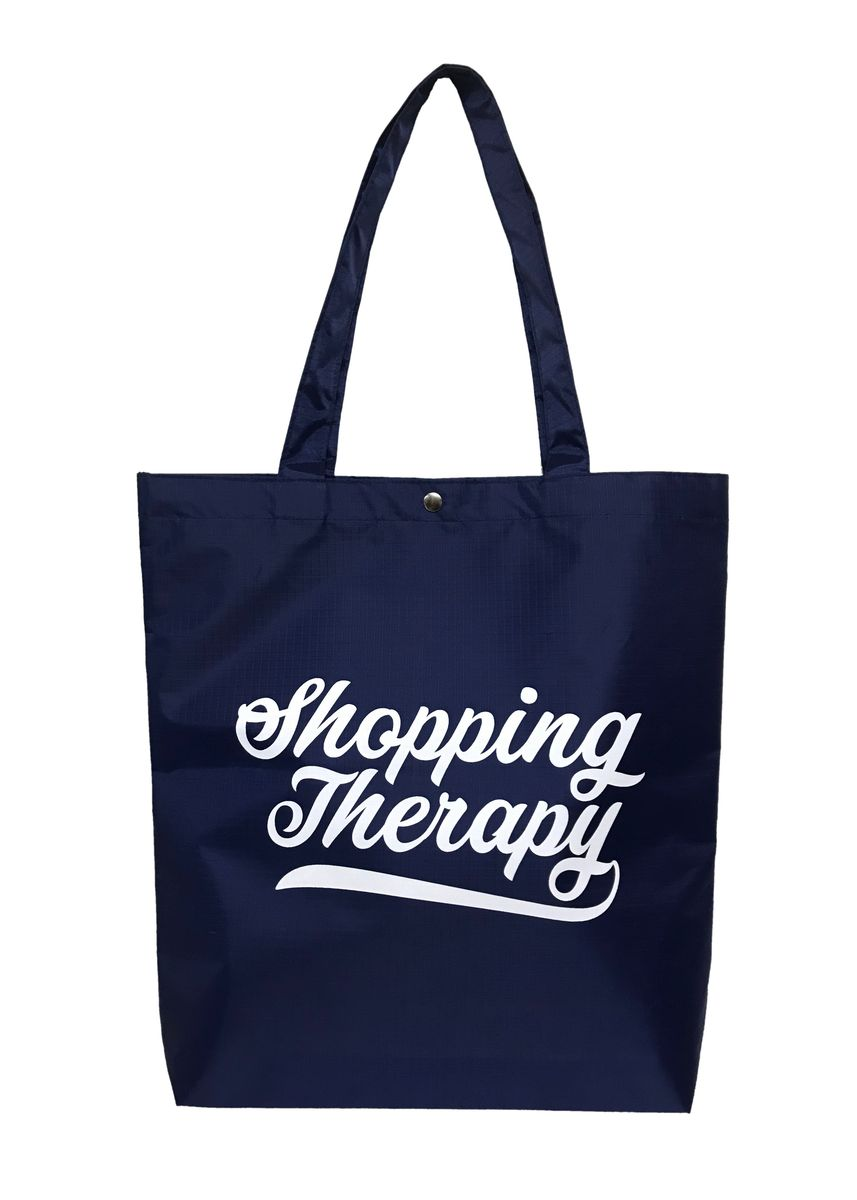 "Navy color Travel Wallets & Organizers . ""Shopping Therapy"" Design Printed Lipstop Fabrics Waterproof Shopping Bag กระเป๋าถุงผ้าลิปสต๊อป พิมพ์ลายกราฟฟิก by Three One One -"