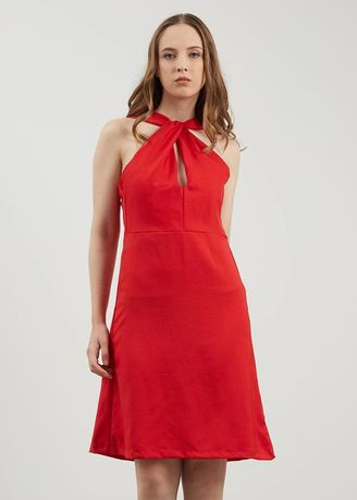 Red color Dresses . BERRYBENKA Ginera Red Twist Dress -