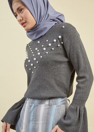 Abu-Abu color Jaket & Coat . BERRYBENKA Knitted Long Sleeve Pearly Grey -
