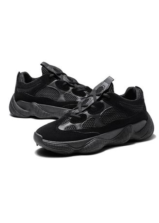 Black color Sports Shoes . Men's sports Sneaker Mesh Matte Leather Breathable Soft Casual Coconut Running Shoes -