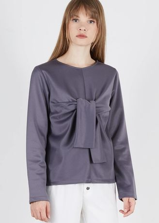 Grey color Tops and Tunics . BERRYBENKA Roxanne Knot Blouse Grey -