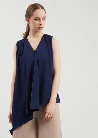 Biru color Atasan & Tunik . BERRYBENKA Feniel Drape Top In Navy -