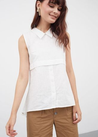 Putih color Atasan & Tunik . BERRYBENKA Jehane Layered Shirt White -