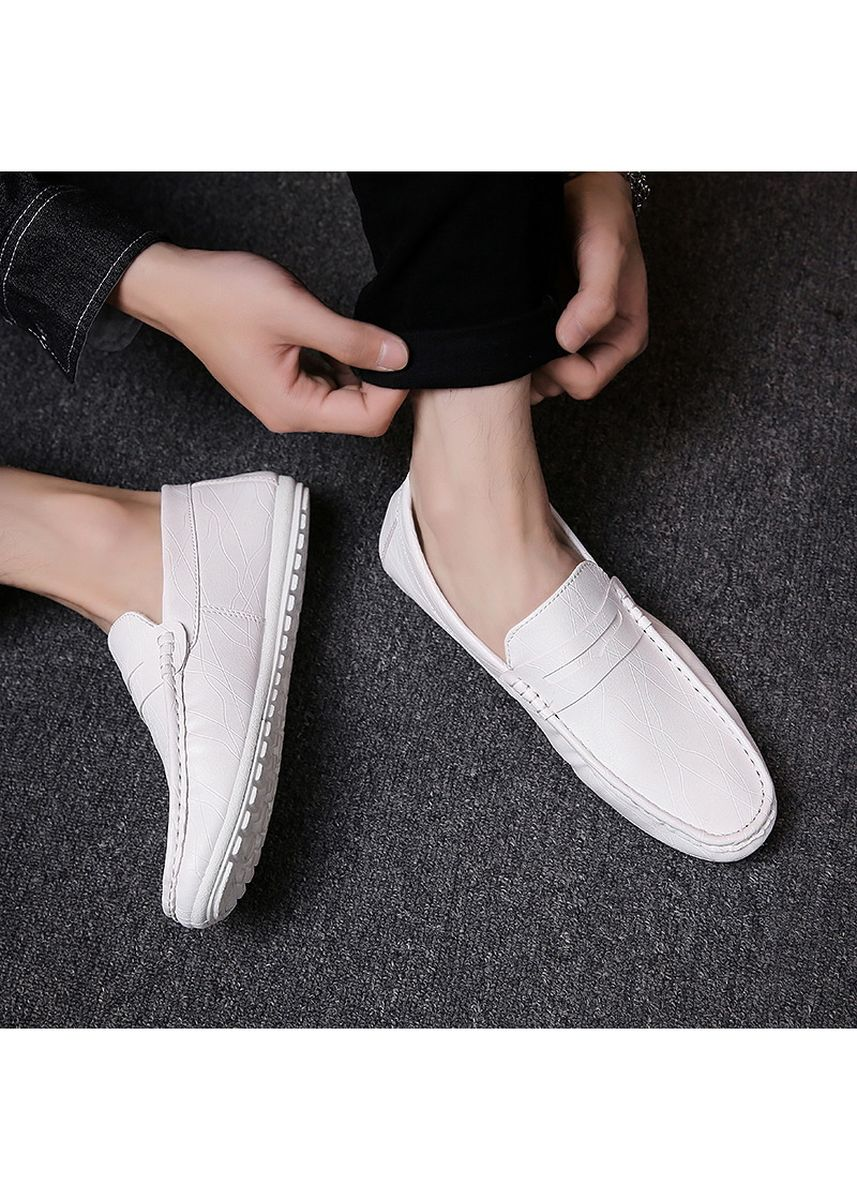 White color Casual Shoes . Men's Shoes Driving Shoes Leather Comfortable -