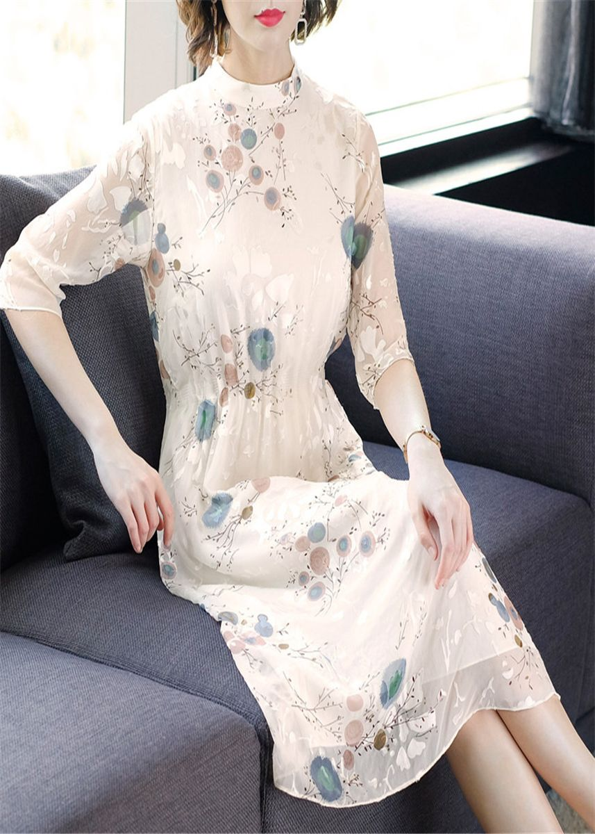 Multi color Dresses . Five-sleeve Stand-up Collar Dress -