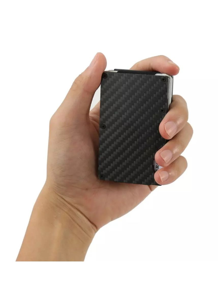 ดำ color กระเป๋าสตางค์ . Carbon Fiber Credit Card Holder RFID Blocking Anti Scan Metal Wallet -