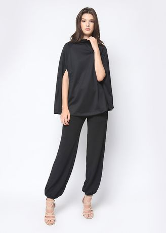 Tops and Tunics . London Cape Top in Black -
