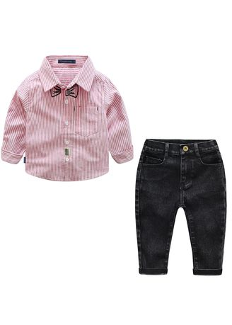 ชมพู color ชุด . And Children's Wear Set Long-sleeved Fake Bow Tie Striped Shirt + Bib -