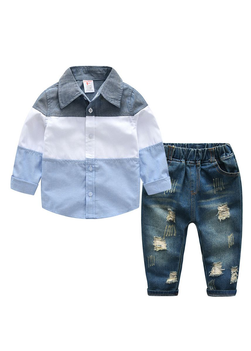 ฟ้า color ชุด . Children's Wear Boy's Long Sleeve Shirt Denim Pants Set Male Bao -