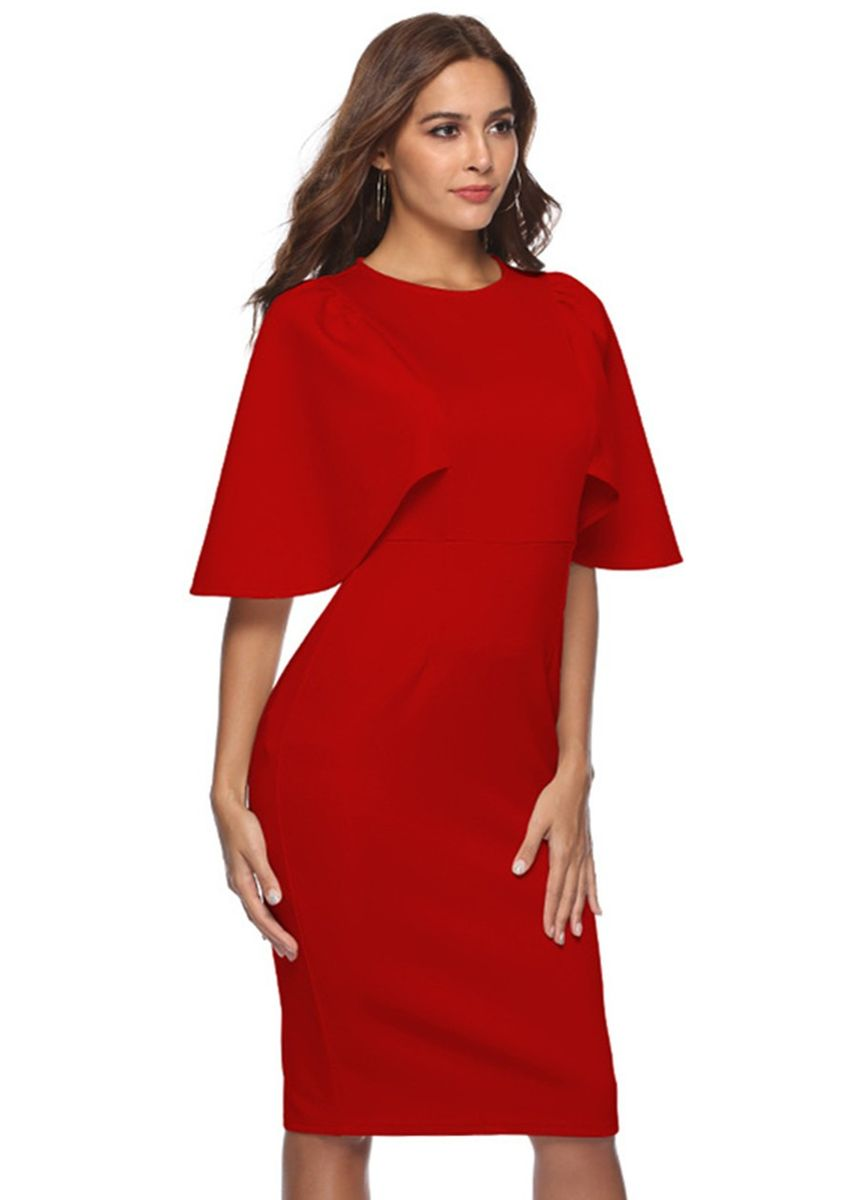 Red color Dresses . New Style Cloak Sleeve Hip Casual Bodycon Dress -
