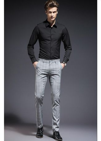 Formal Trousers . Men's Formal Slim Trousers Plaid Youth Pants  -