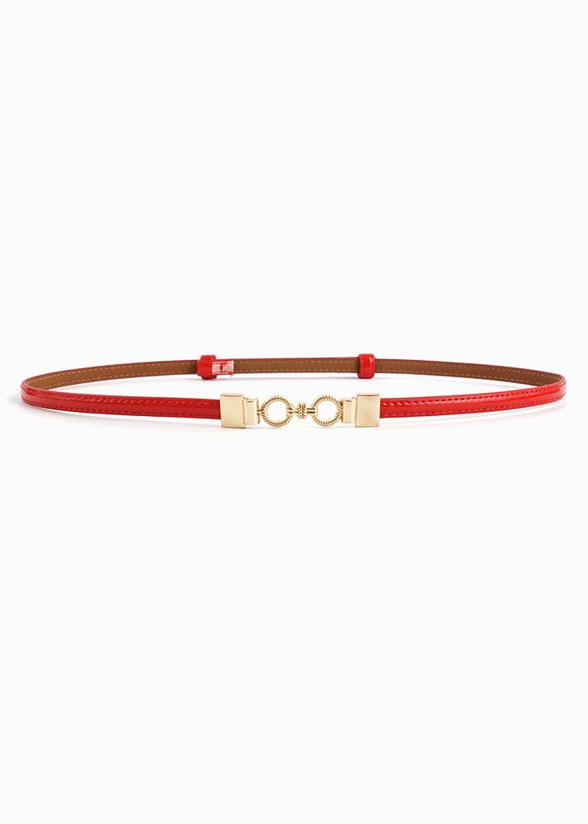 Red color Belts . Gold Double Loop Faux Leather Belt -