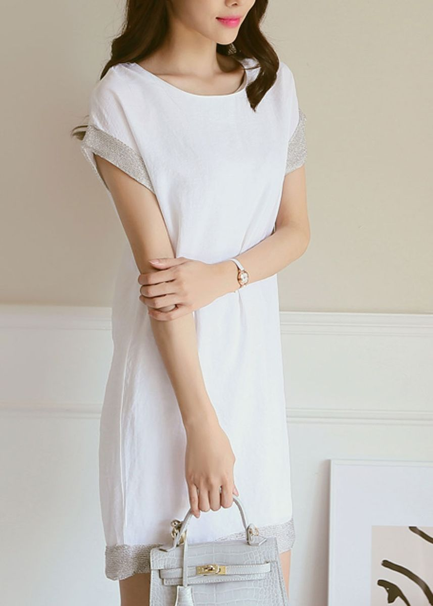 White color Dresses . Stitching Sleeves Loose Mid-length Dress -