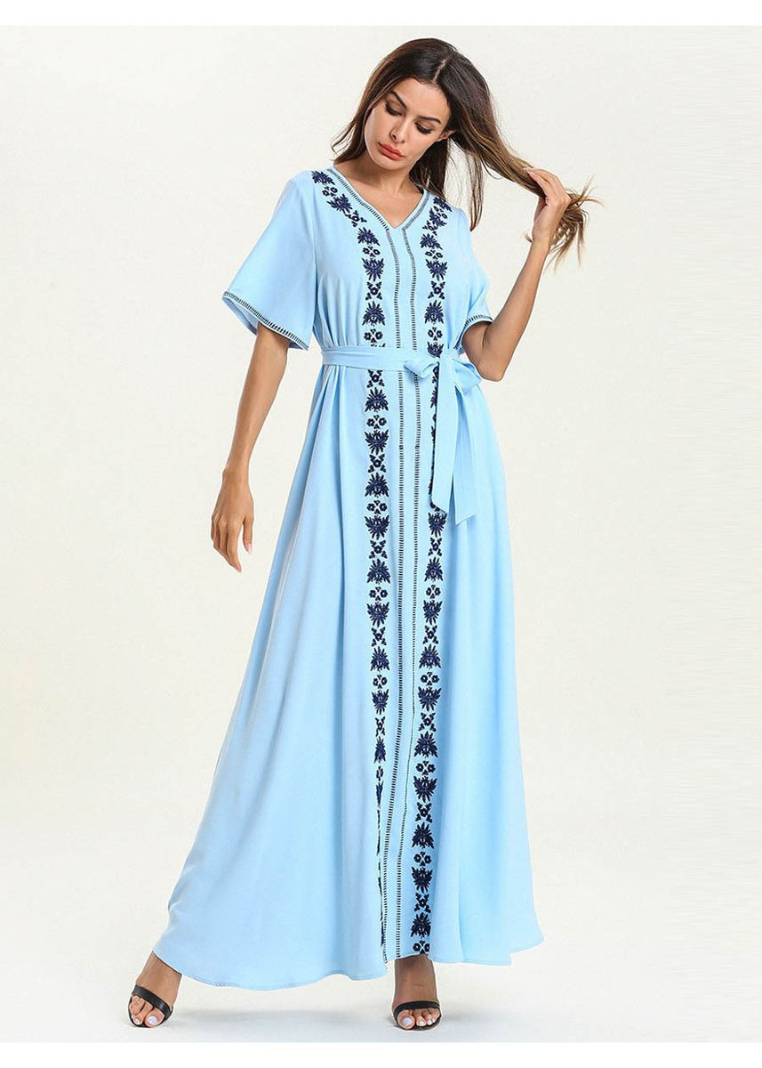Light Blue color Plus Size Fashion . Women's Plus Size Fashion V-neck Embroidered Leisure Dress -