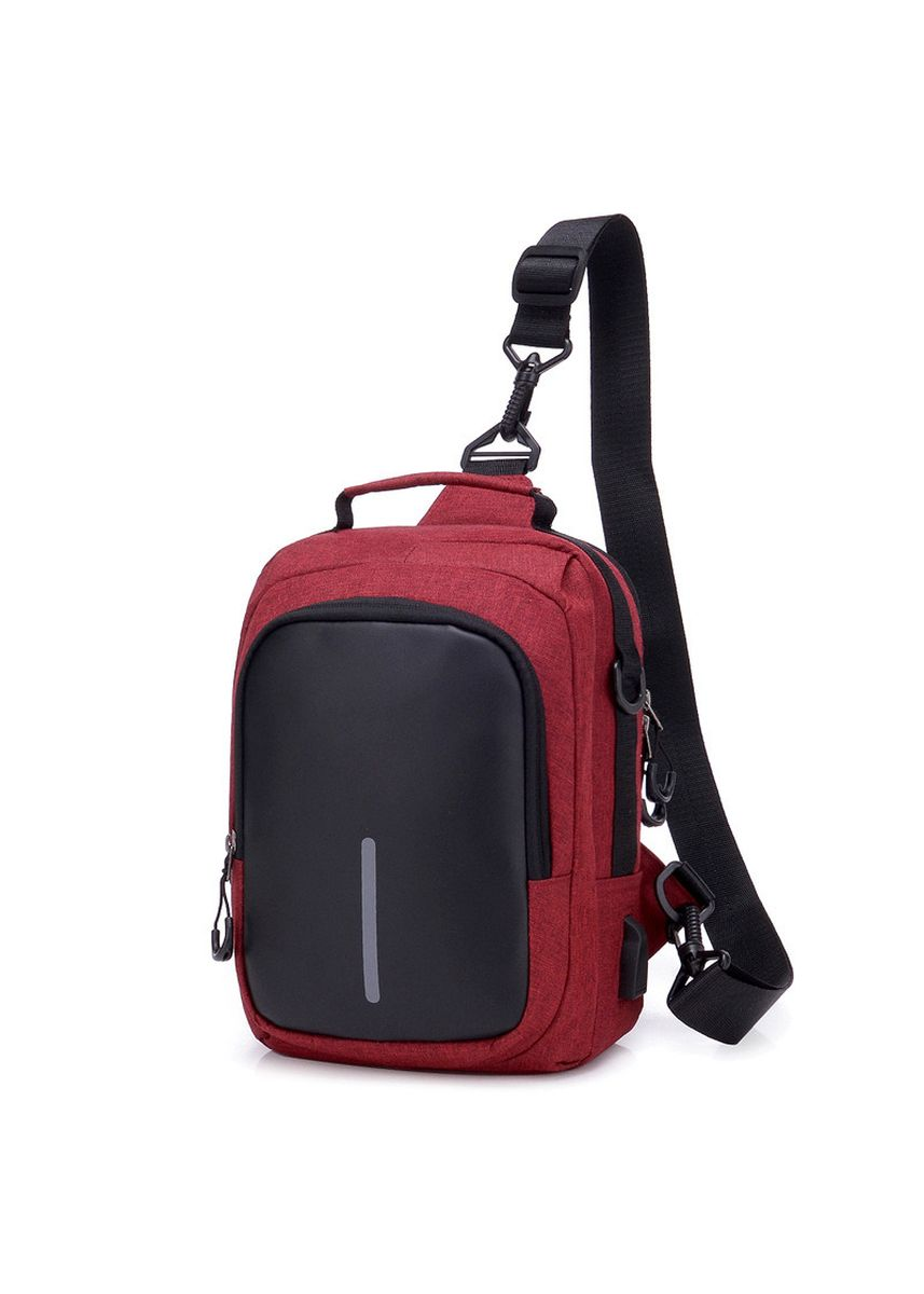 Red color Messenger Bags . Men's Oxford Cloth Chest Bag Multi-function Waterproof Anti-theft -