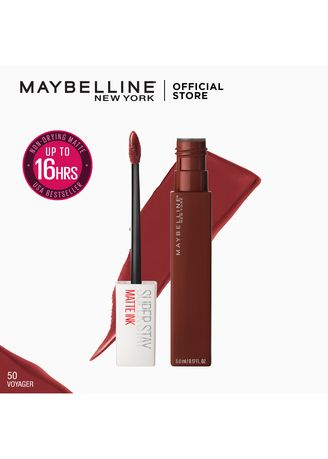 Maroon color Lips . SuperStay Matte Ink Liquid Lipstick - Voyager [16HR Waterproof] by Maybelline -