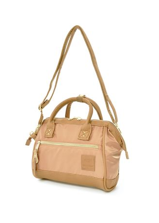 Sling Bags . Anello 2 Way Shoulder Bag Mini Size PU Leather X Nylon AT-H1241 - Natural Pink -