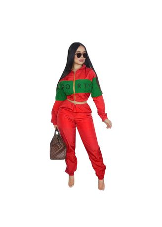 Red color Jump Suits . Letter Printed Women's Jump Suits -