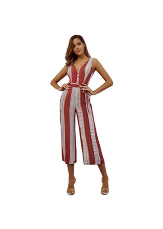 Red color Jump Suits . Fashion V Neck Striped High Waist Women's Jump Suits  -