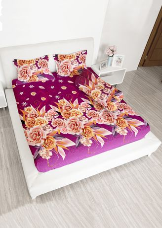Purple color Bedroom . Lady rose sprei (180x200) 2 bantal - PEONY -