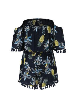 Blue color Jump Suits . Women Style Fashion Printing conjoined Shorts -