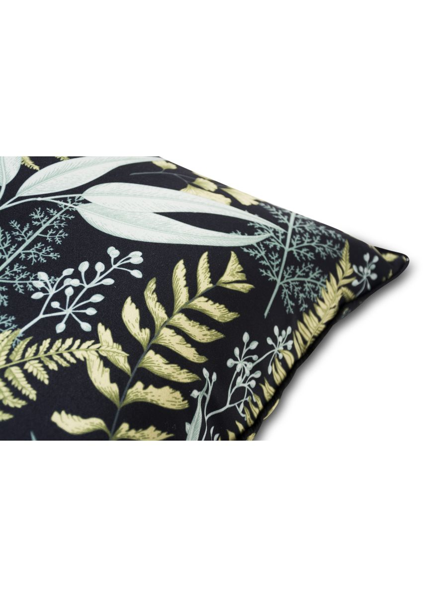 Black color Home Decor . IndoLinen Sarung Bantal Sofa Motif Daun 2pcs -