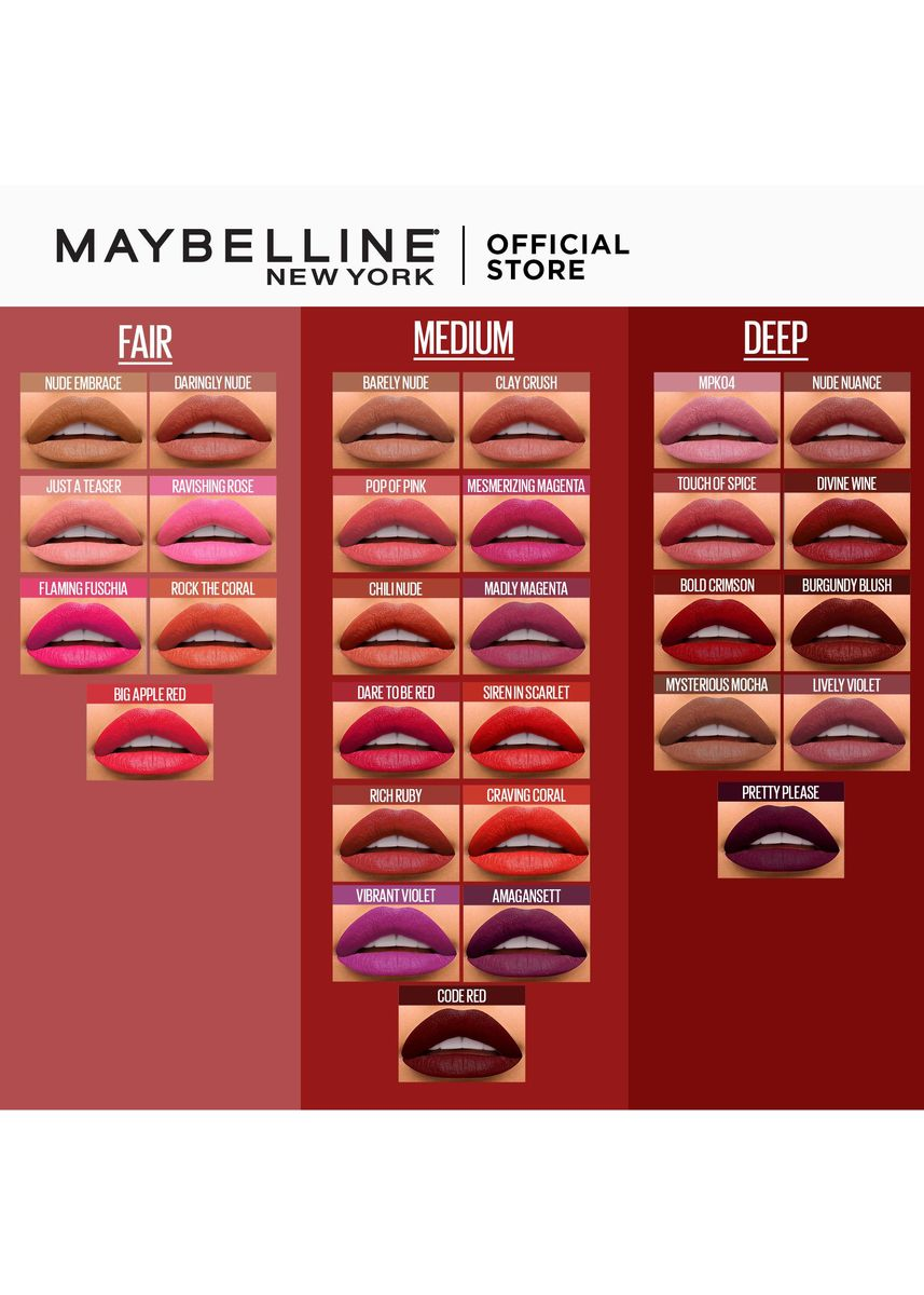 Red color Lips . Creamy Matte Lipstick [New York's #1] by Maybelline Color Sensational(Ravishing Rose) -