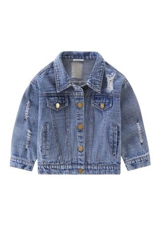 ฟ้า color แจ็คเก็ต . Unisex Kids' Ripped Denim Jacket Cute Kids' Outerwear -