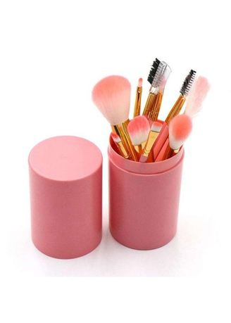 Pink color Applicators . Kuas Tabung Make Up Brush 12 Set / Make Up Brush in Tube 12 PCS -