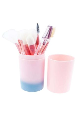 Pink color Applicators . Kuas Tabung Make Up Brush 12 Set / Make Up Brush in Tube 12 PCS - GRADASI BIRU -