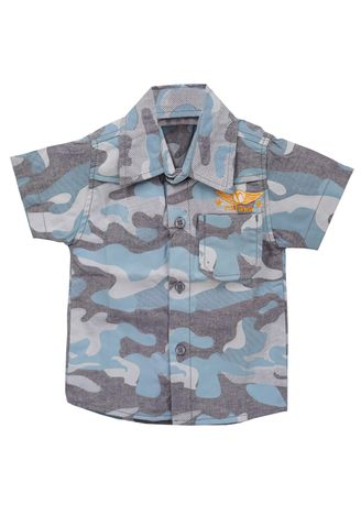 Blue color Tops . Natawa Kemeja Anak Anak Army Biru -