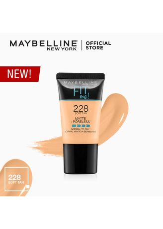 Face . Fit Me Matte+Poreless Liquid Foundation Tube 18mL [USA Bestseller] by Maybelline(228 Soft Tan) -