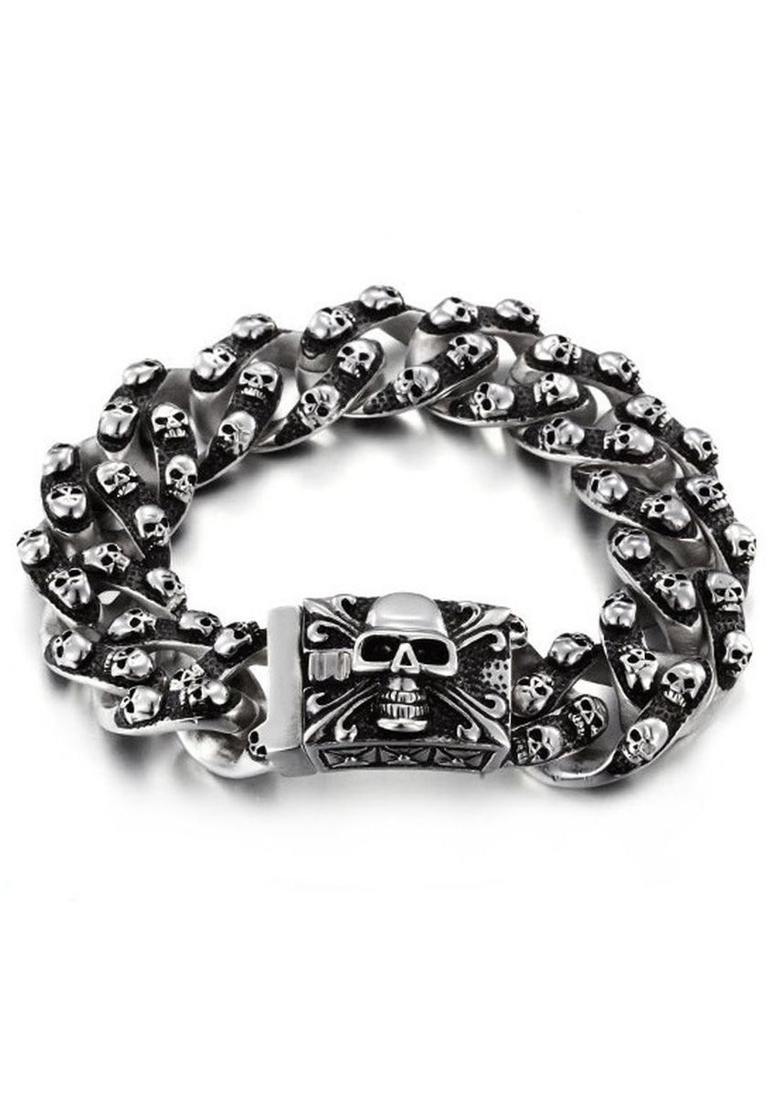 ดำ color สร้อยข้อมือ . Retro Skeleton Punk Ghost Head Men's Bracelet -